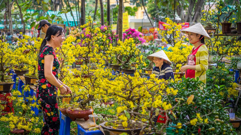 marché aux fleurs de Têt à Saigon