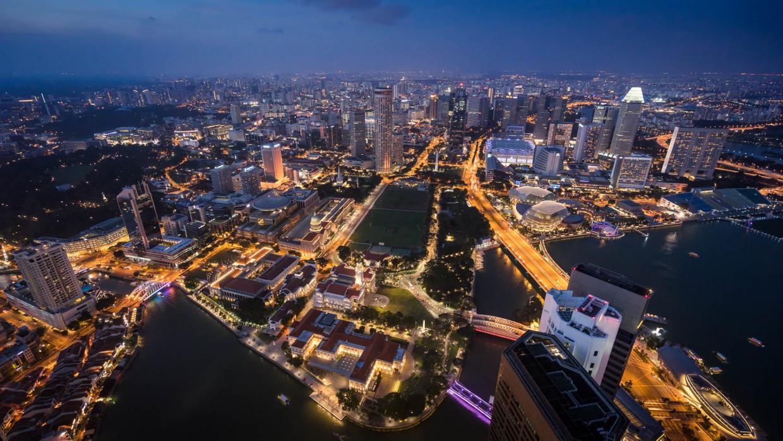 Vue de nuit de Singapour
