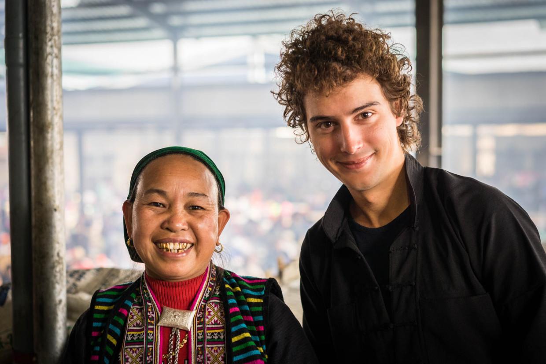 Alexis au marché de Meo Vac Vietnam