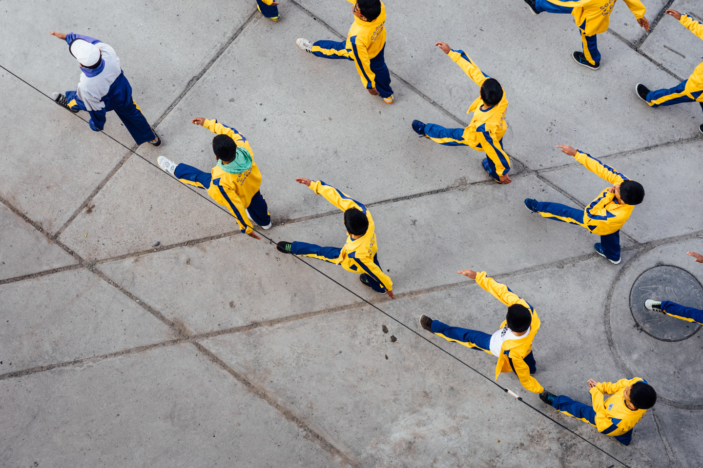 Défilé à Huaraz, vue verticale