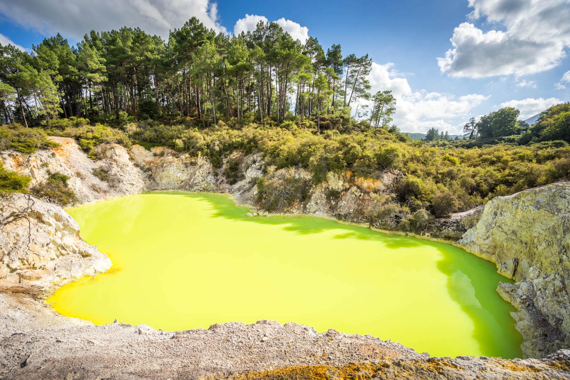 Lac vert fluo, Waiotapu Thermal Wonderland